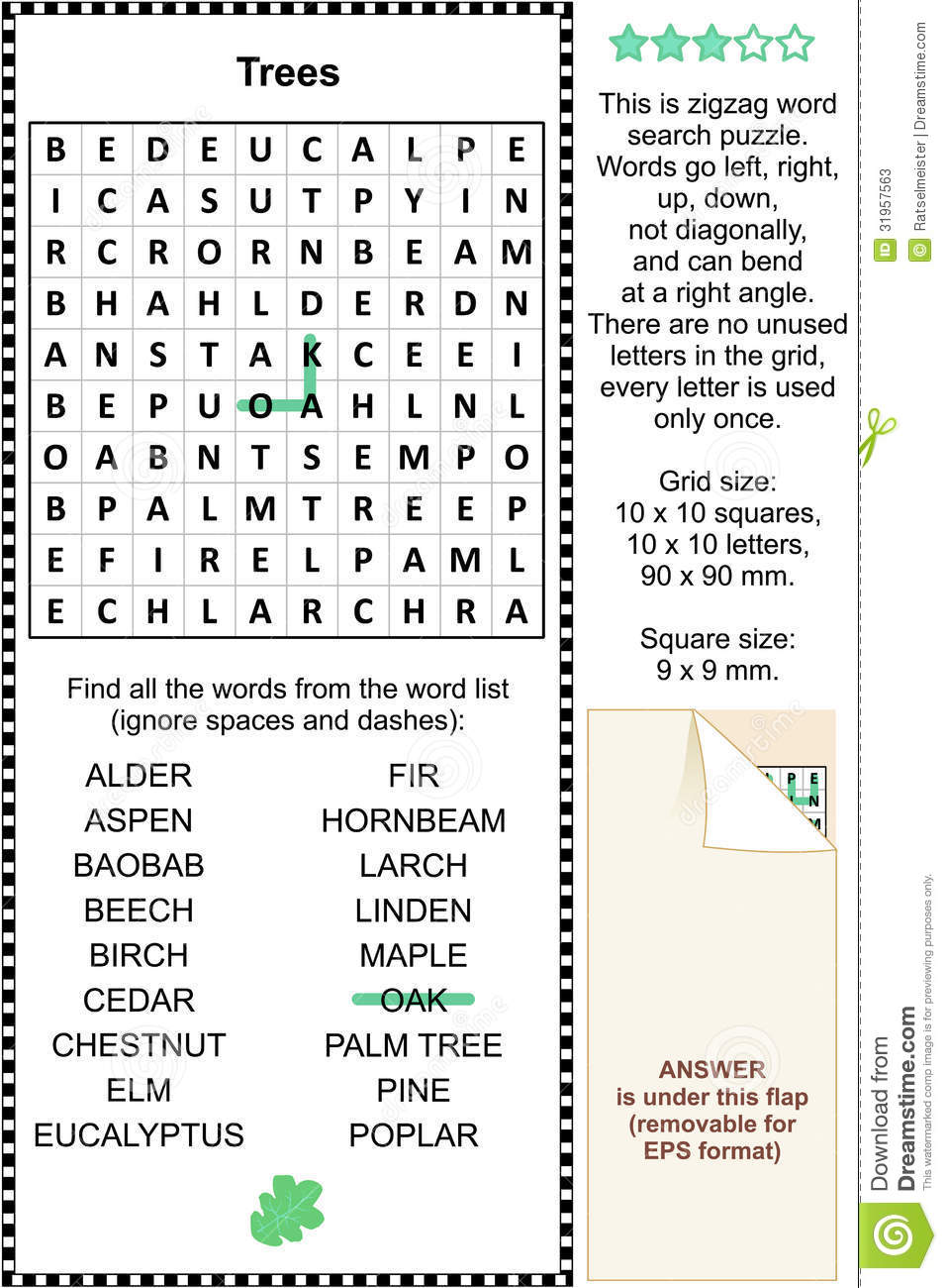 trees themed wordsearch puzzle stock vector