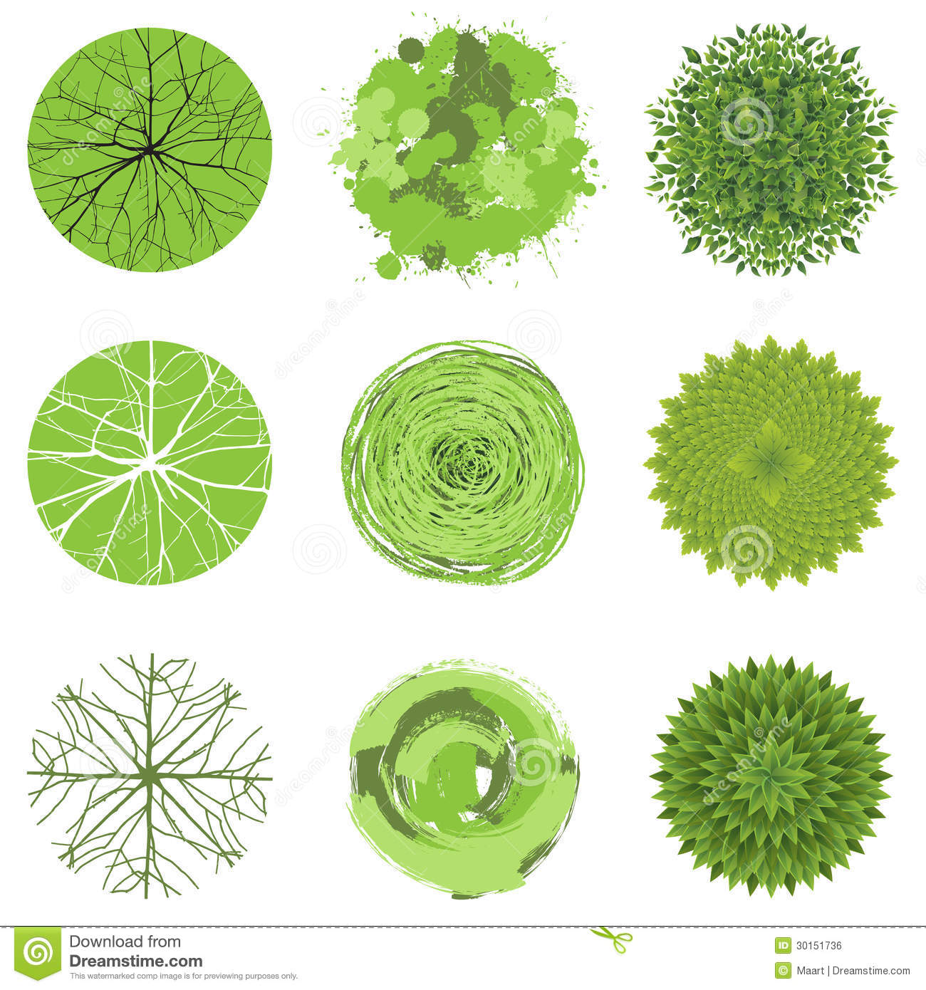 Set Of Trees And Shrubs. Top View. Stock Vector - Illustration of ... for tree drawing top view  150ifm