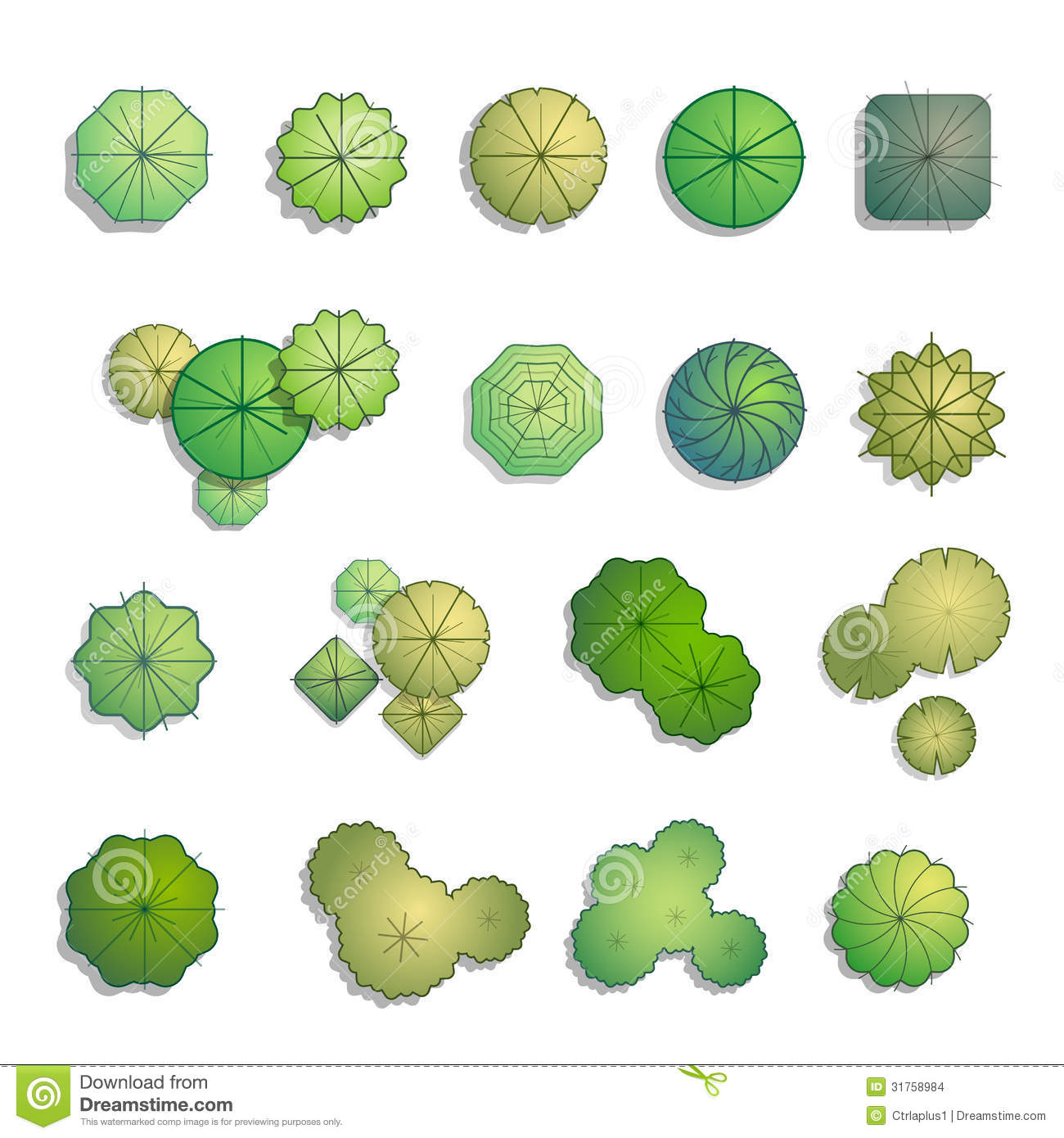 Trees Top View For Landscape Design Stock Images - Image ...