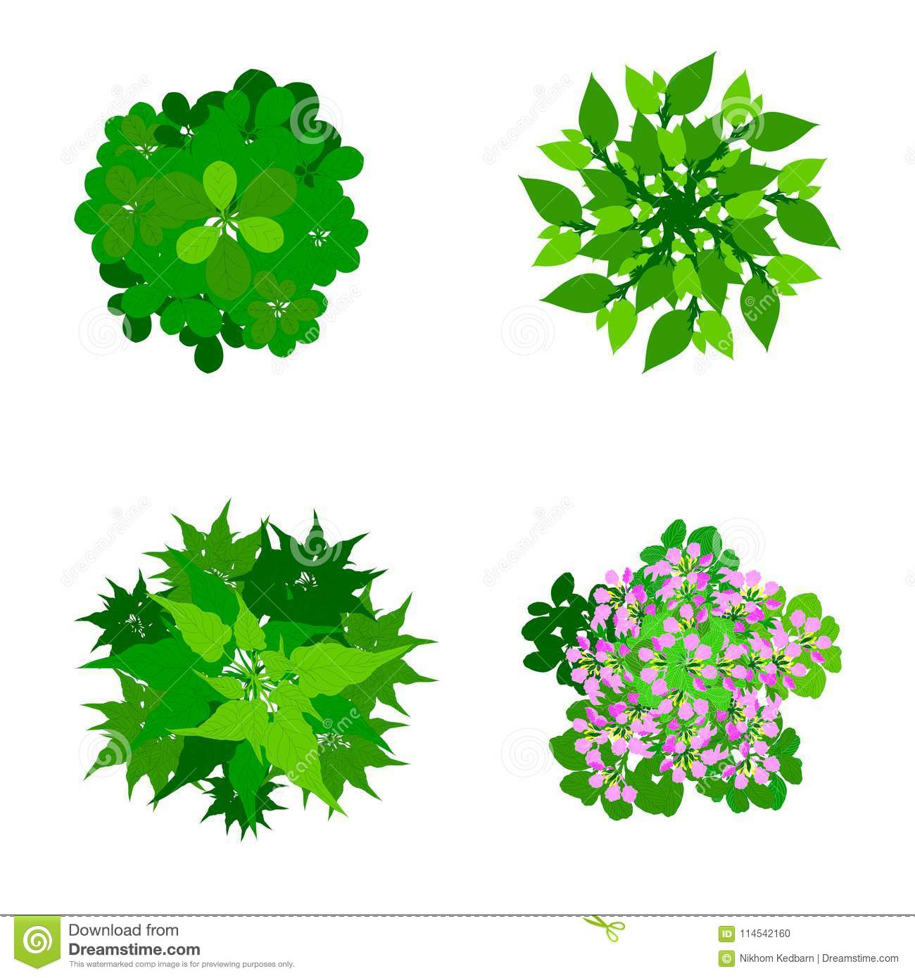 Download Trees Top View For Landscape Illustration Stock