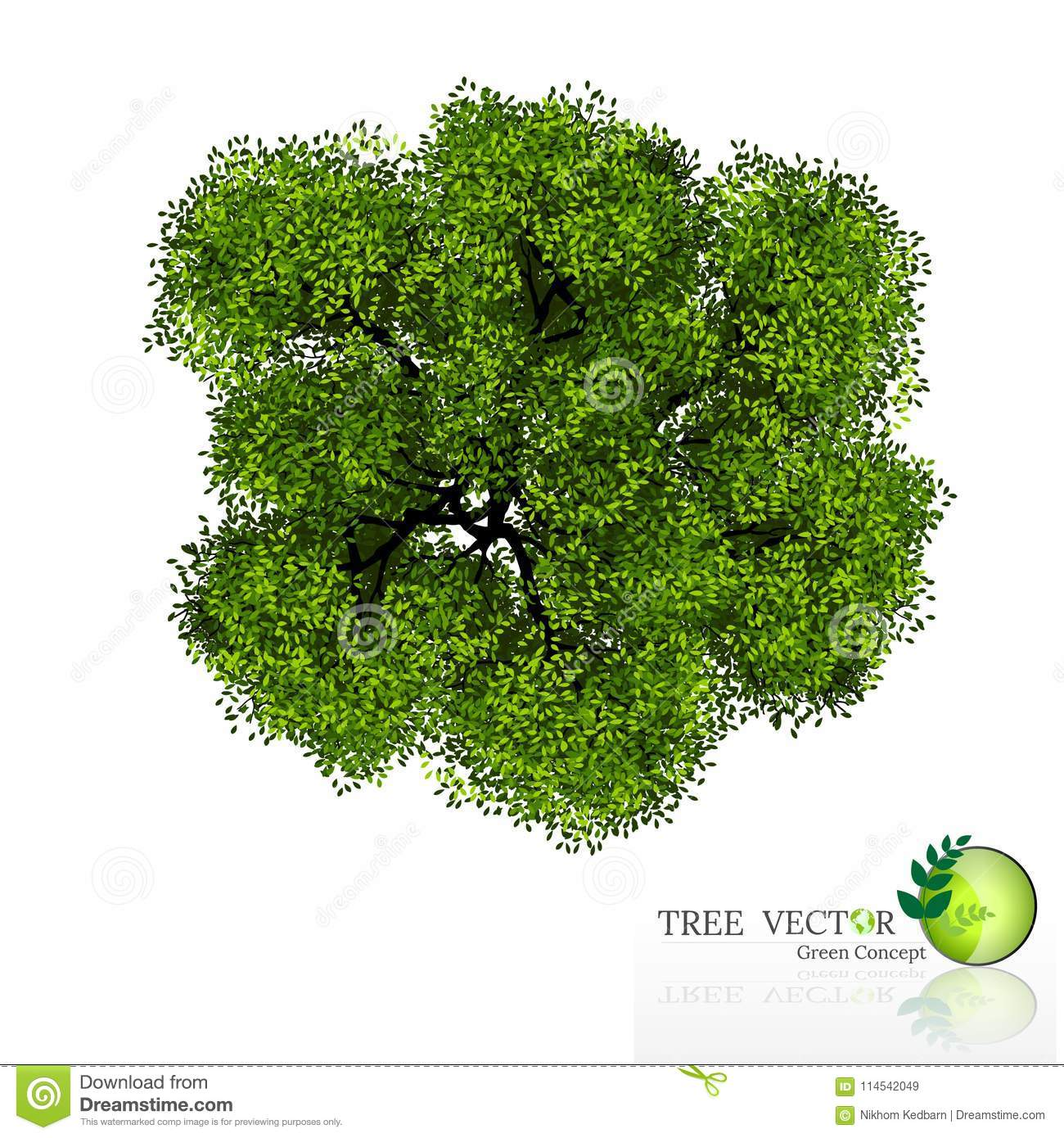 Trees Top View For Landscape Vector Illustration  Stock