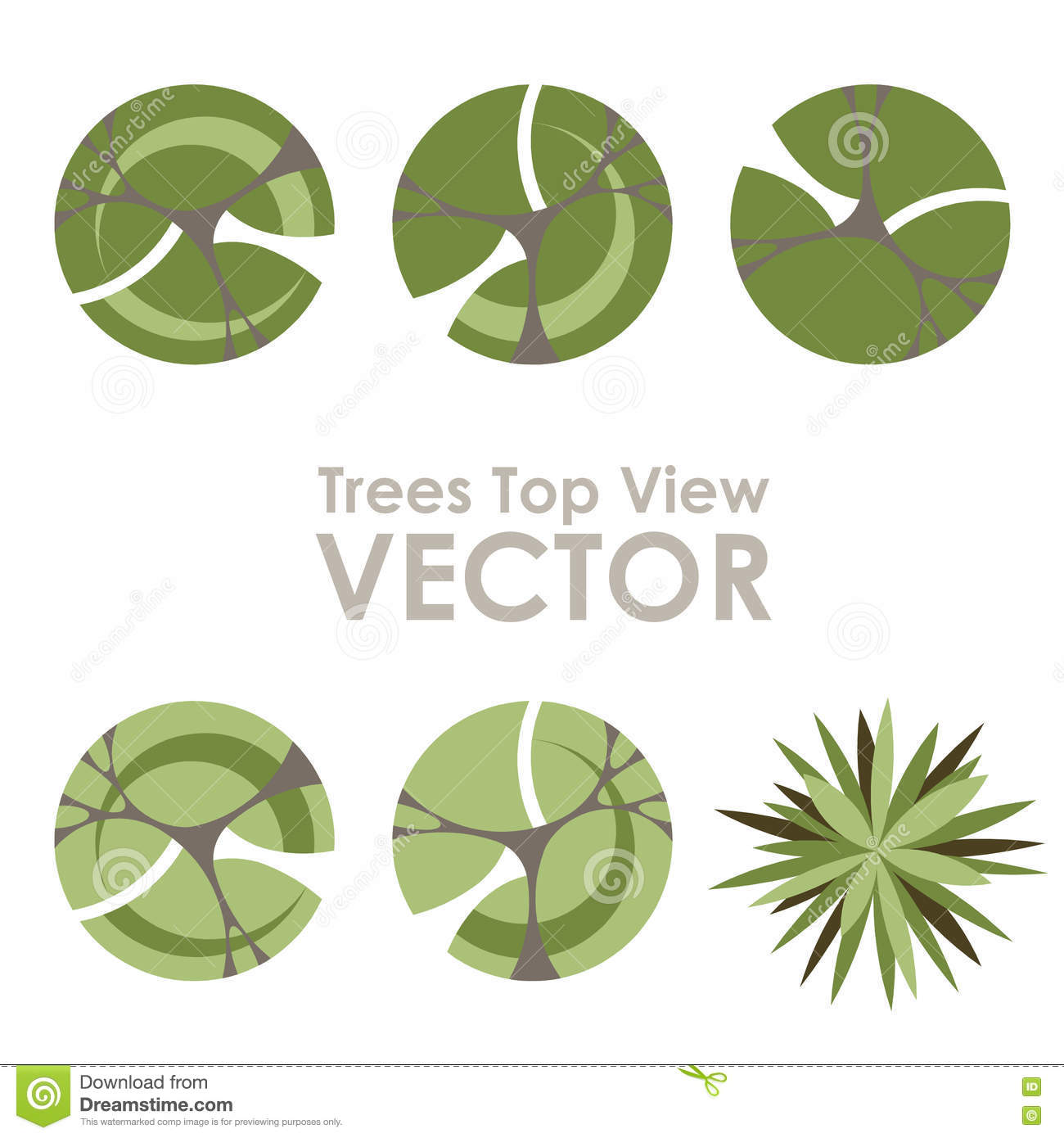 Trees top view vector icons