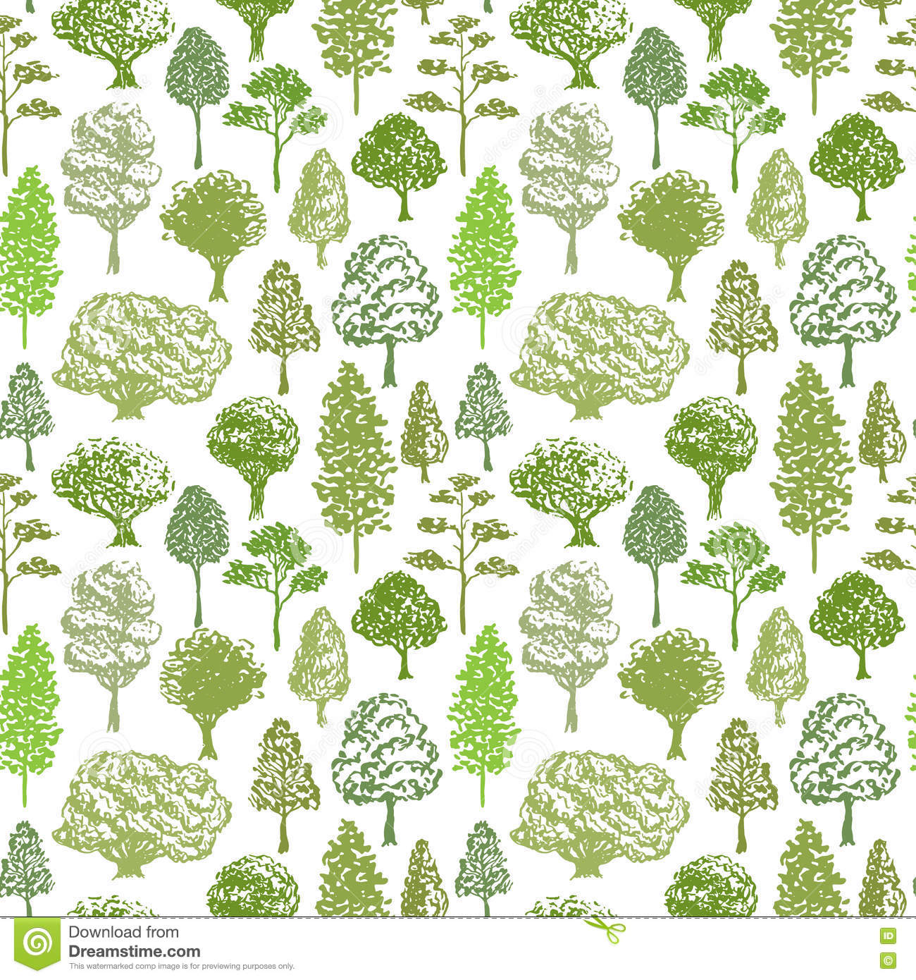 Trees Vector Pattern. Sketch Seamless Green Tree Pattern