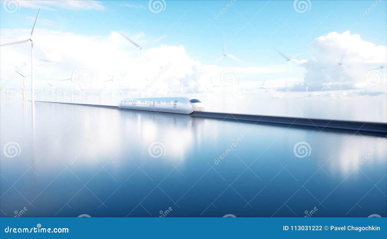 Trein van de Speedly de Futuristische monorail Sc.i-de post van FI Concept toekomst Mensen en Robots Water en windenergie 3d
