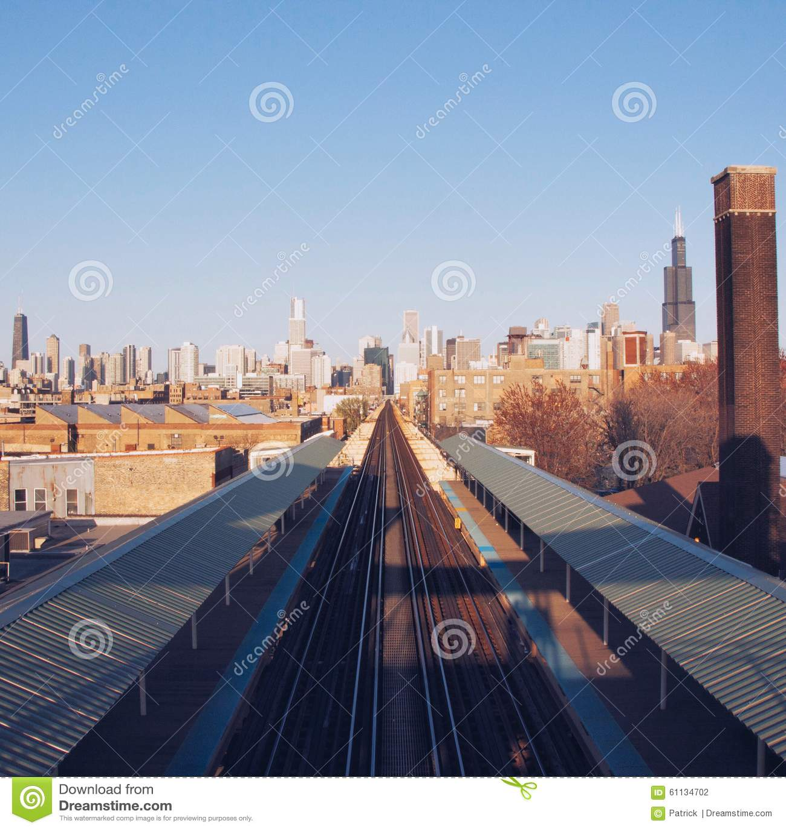 Treinsporen in de stad