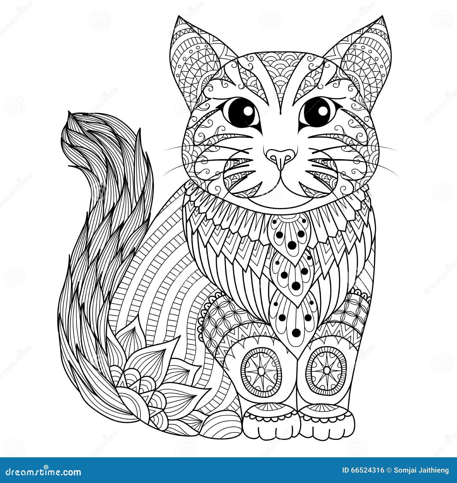 Trekkend Zentangle Kat Voor Het Kleuren Van Pagina Het