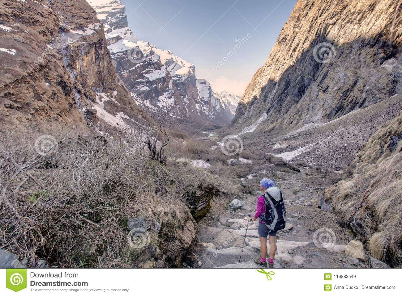 Trekker in the valley on the way to Annapurna base camp, Nepal