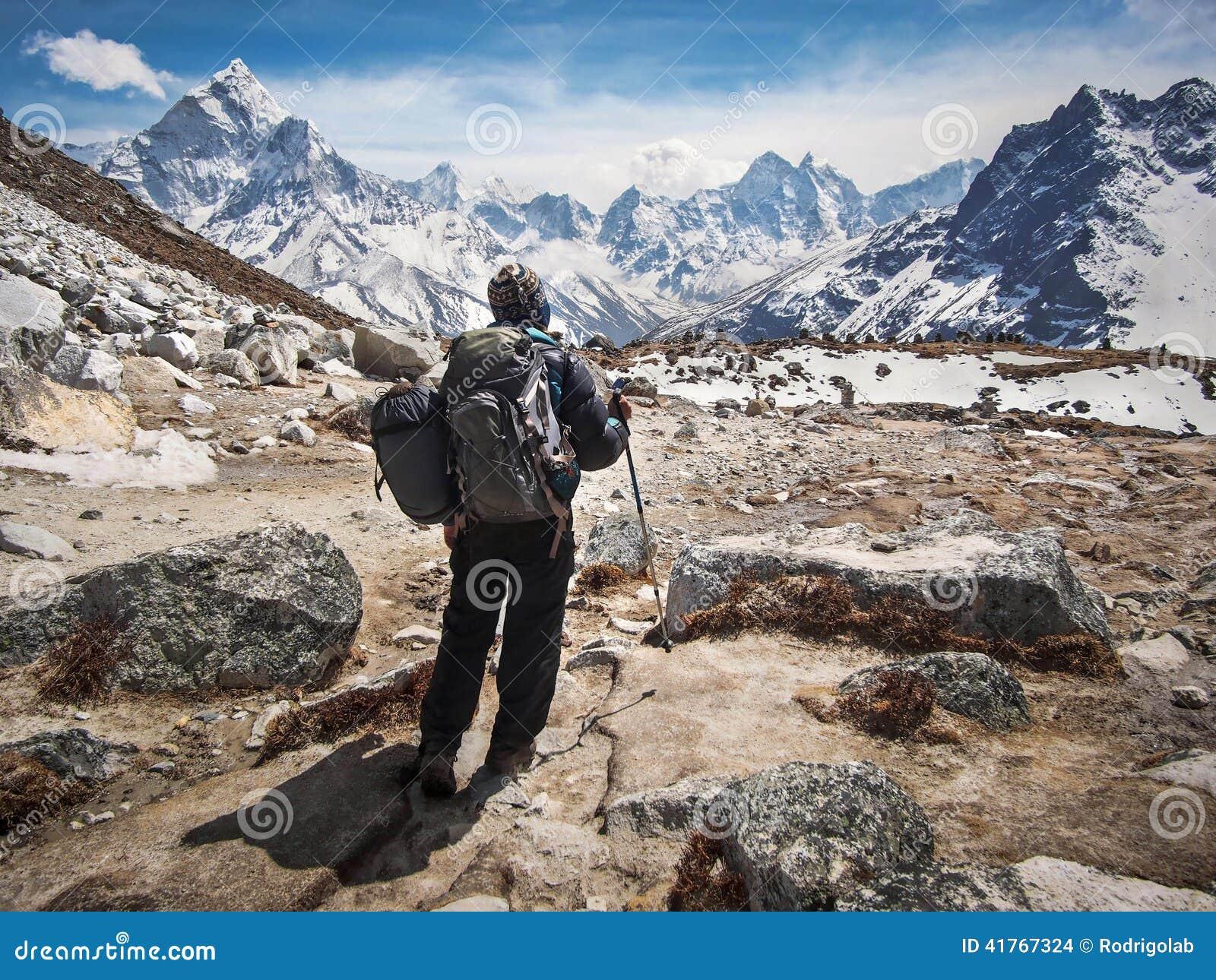 Trekker Walking the Everest Base Camp Trek in Nepal