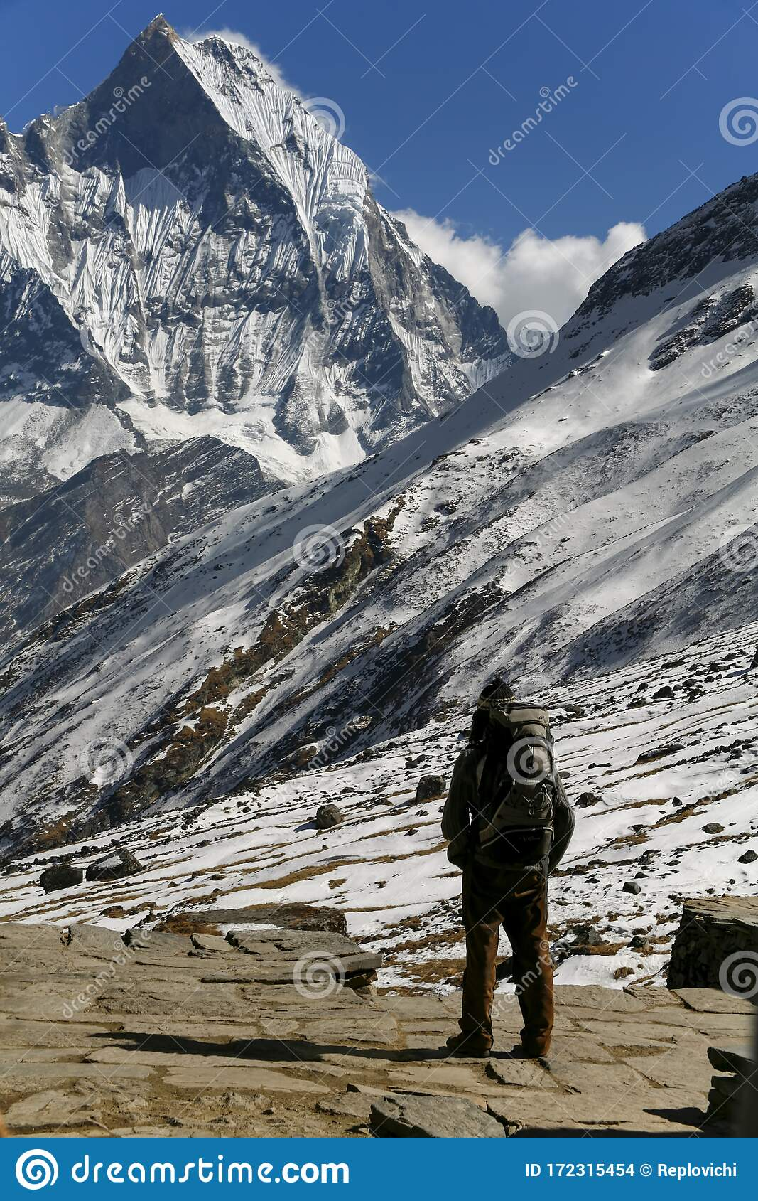 Trekkers At The Annapurna Mountain Range In Nepal ...