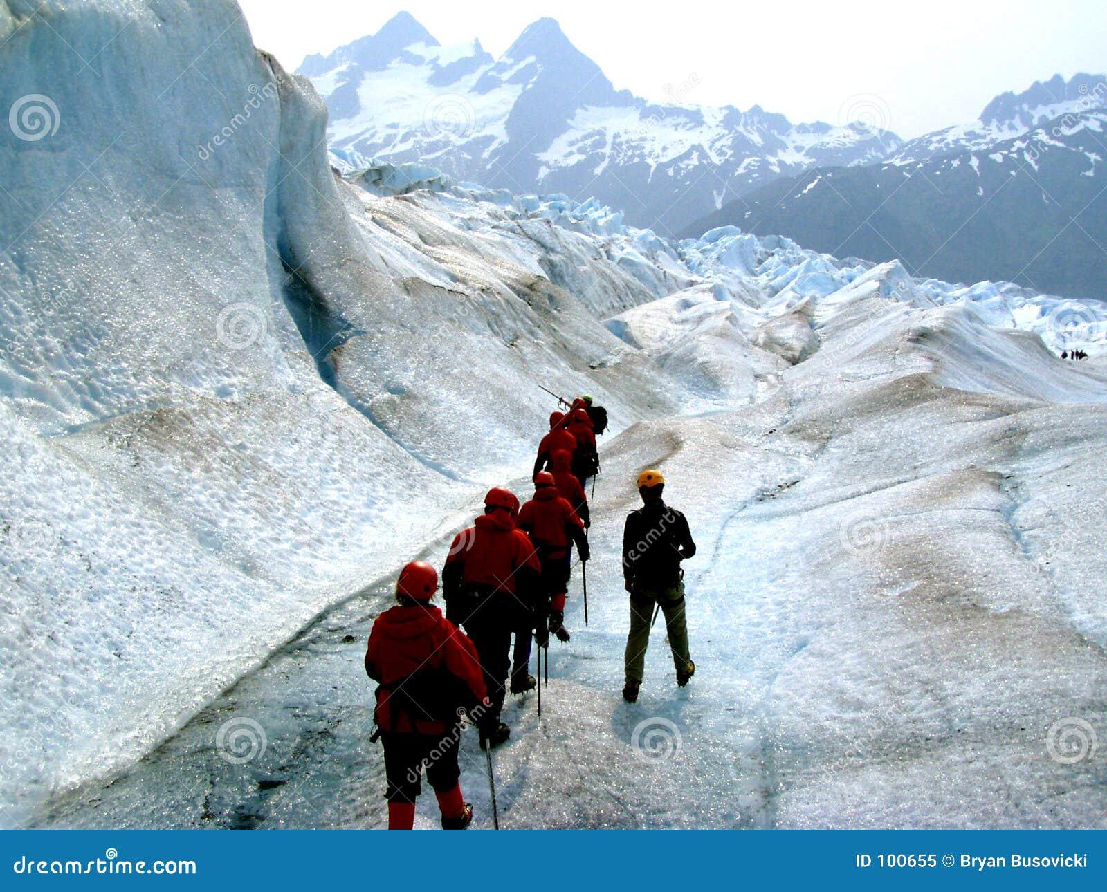Trekkers da geleira ao longo do córrego