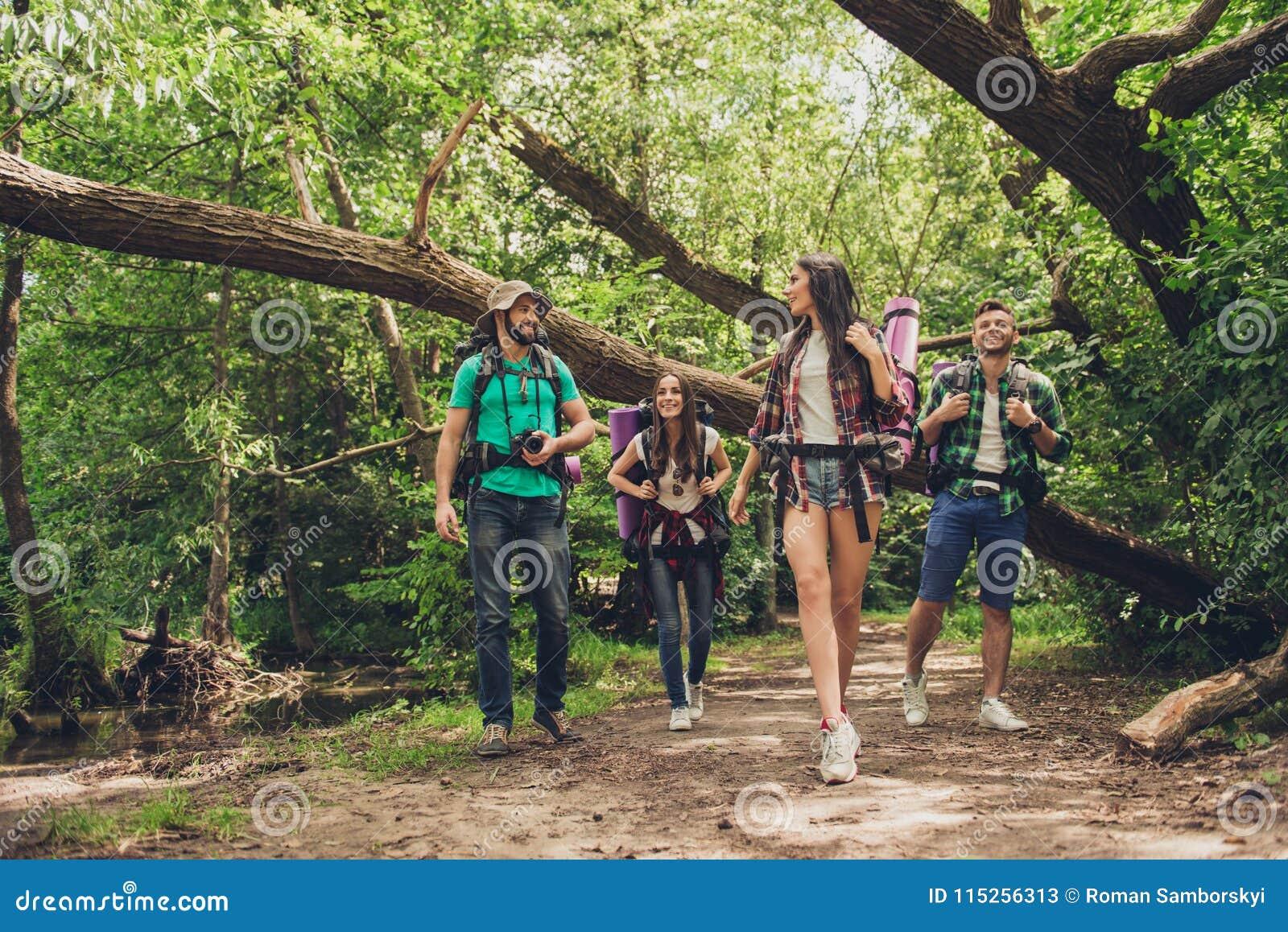 Trekking, het kamperen en wild het levensconcept Twee paren van vrienden lopen in het zonnige de lentehout, spreken en lachen, al