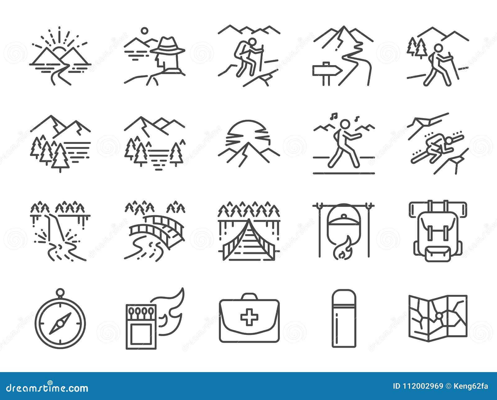 Trekking linje symbolsuppsättning Inklusive symbolerna som sikten, naturen, att campa, berget, skog, fotvandring, lopp, solnedgån