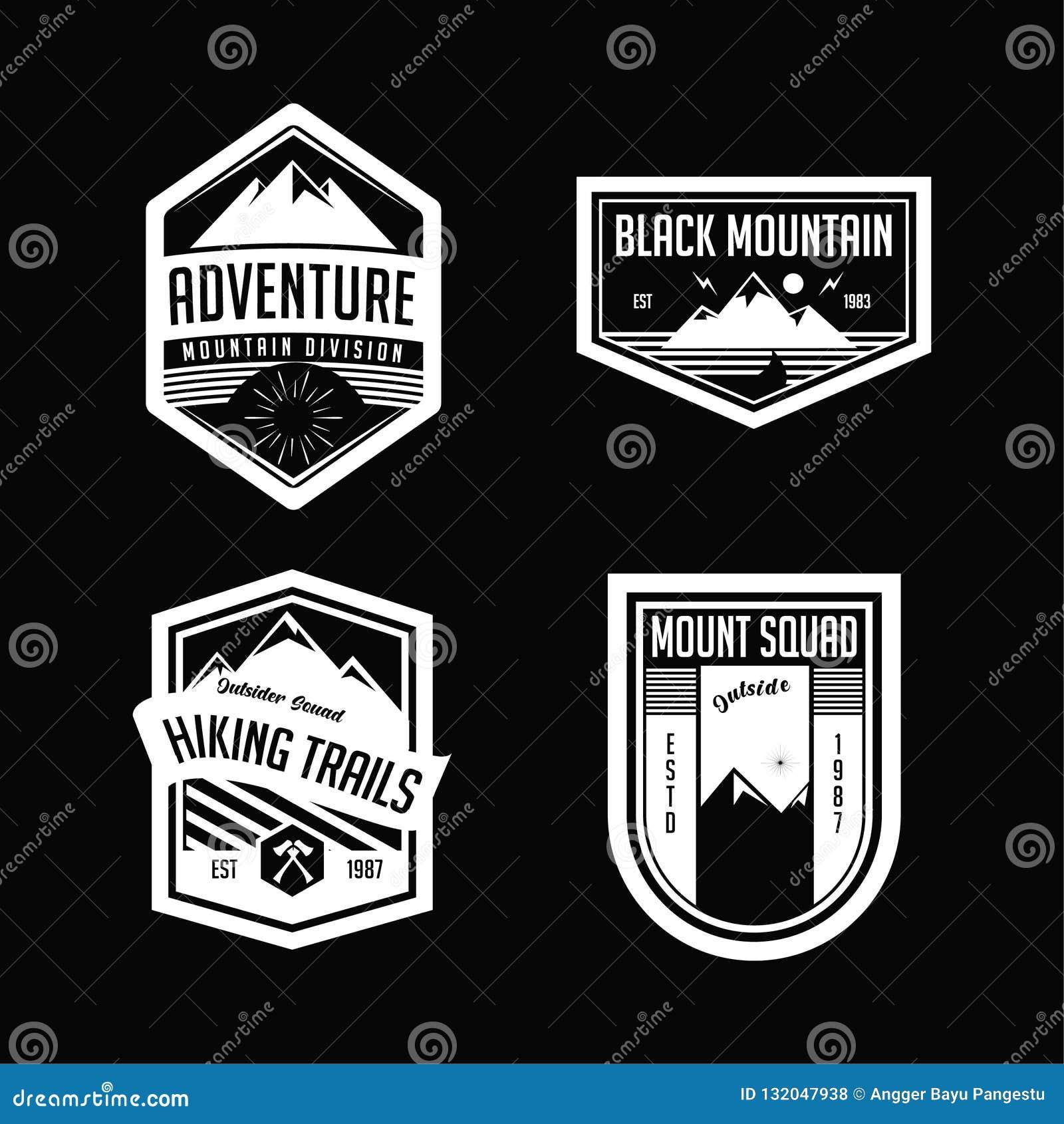 Trekking logo och emblem för berg