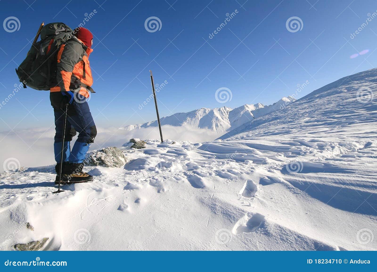 Trekking man resting