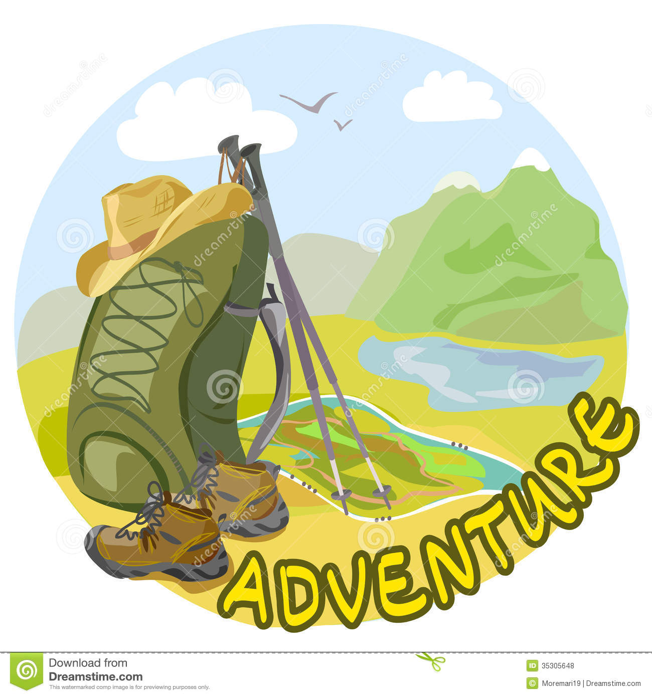Landscape Illustration Vector Free: Trekking Outfit In A Mountain Landscape Stock Vector