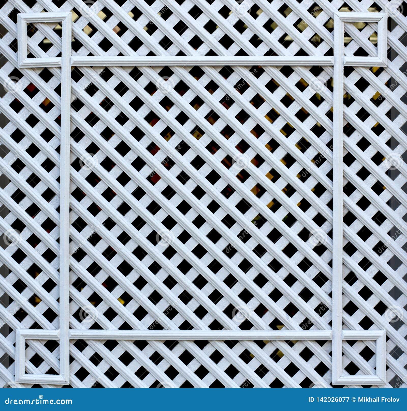 Trellis en bois et carré blanc Texture des cellules