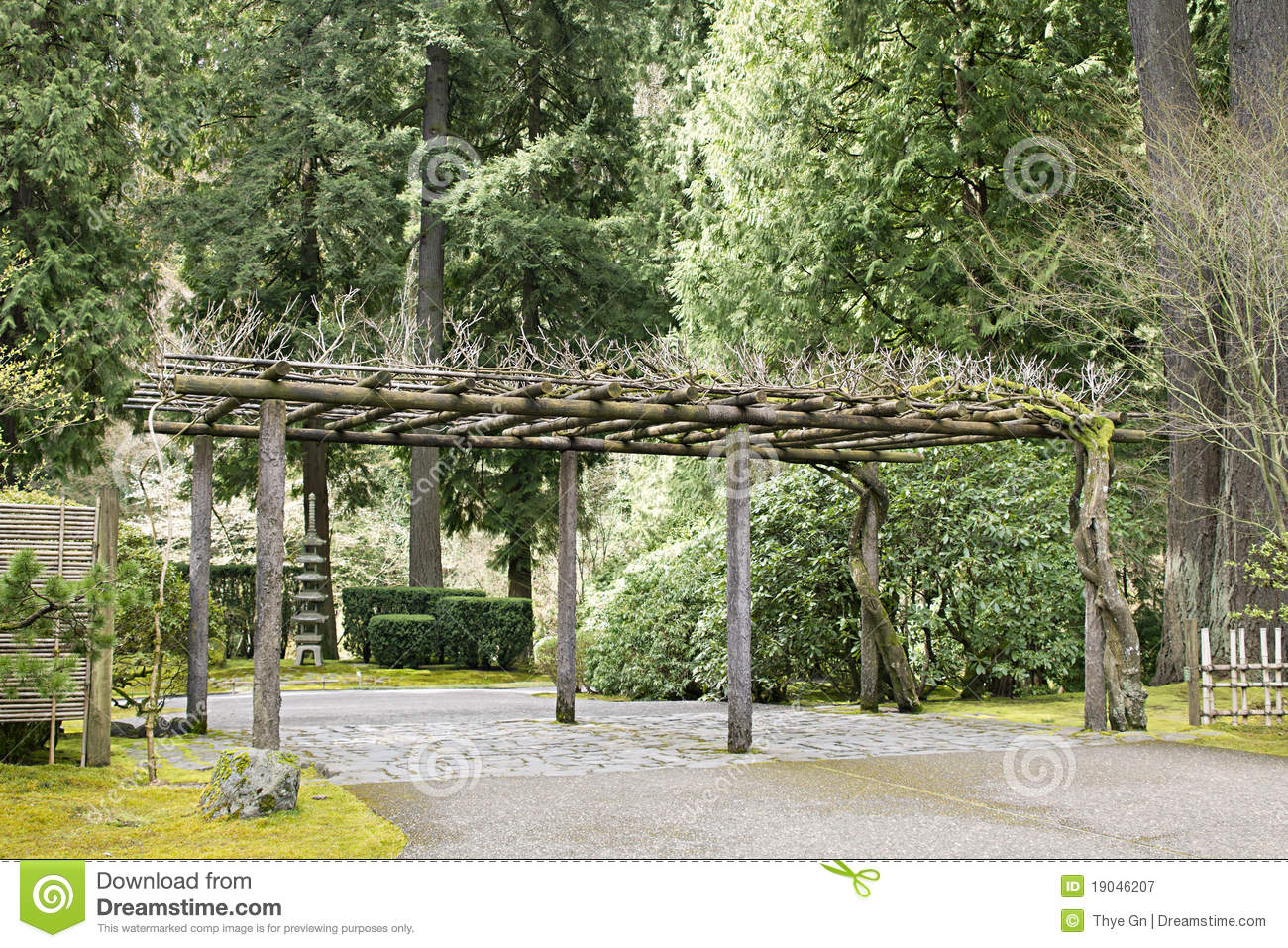 Trellis at portland japanese garden royalty free stock for Japanese garden structures wood