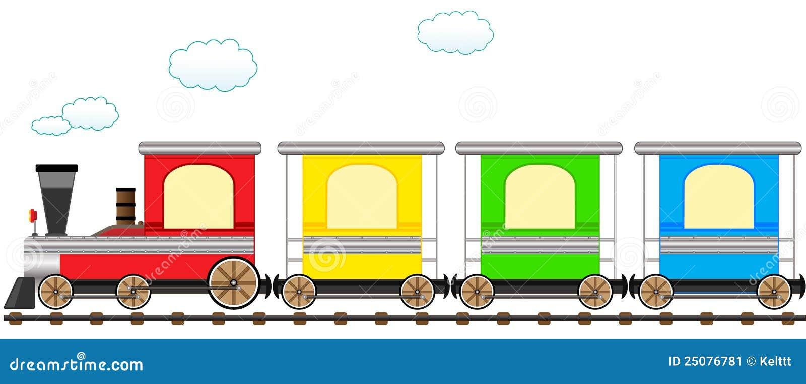 trem colorido bonito dos desenhos animados na estrada de ferro