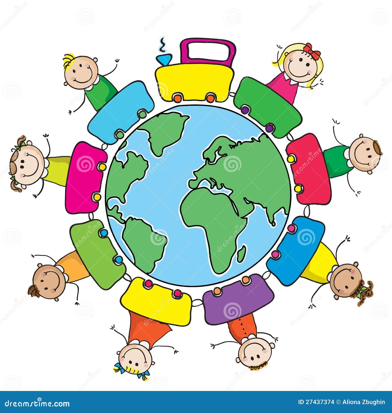 Trem com os miúdos em torno do mundo