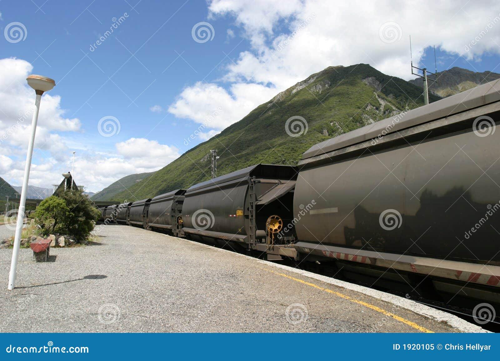 Trem de carvão em Nova Zelândia