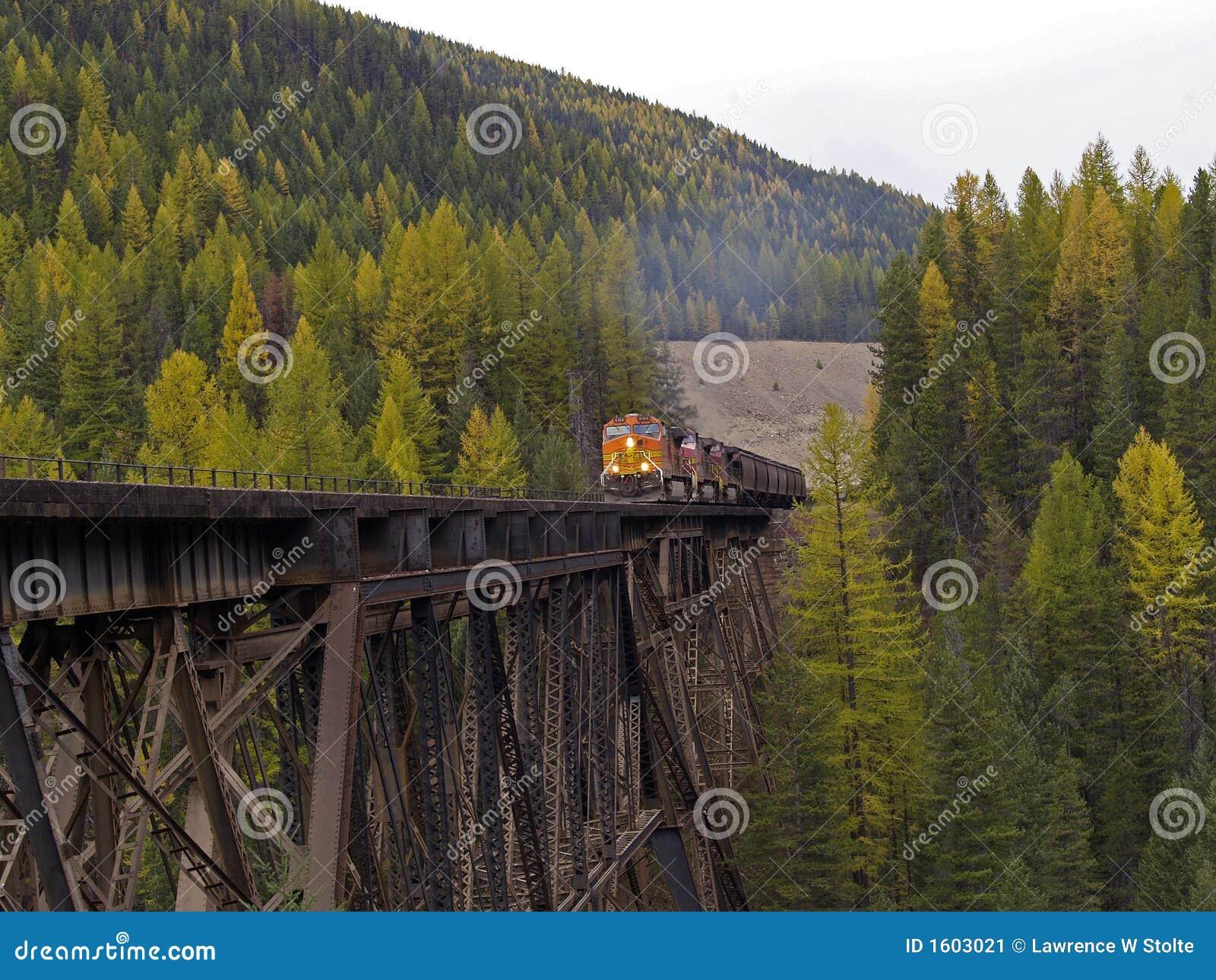 Trem de frete que começa a cruzar o cavalete