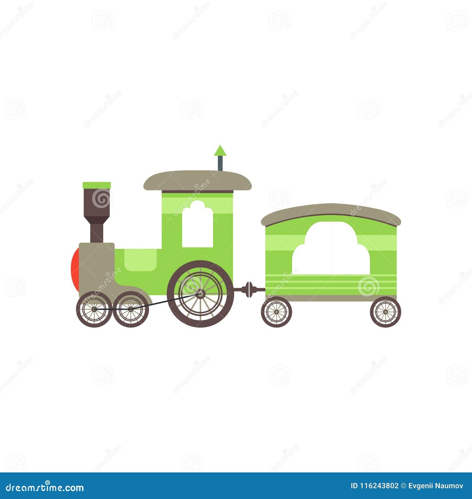 trem do brinquedo do verde dos desenhos animados das crianças