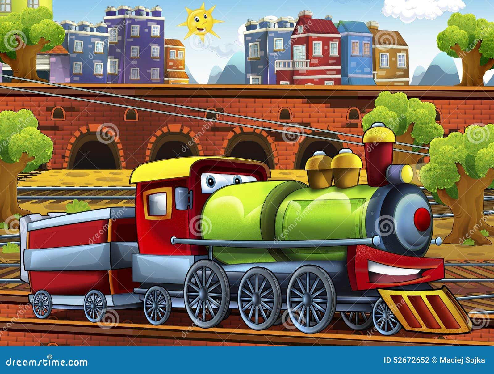 trem do vapor dos desenhos animados estação de caminhos de ferro