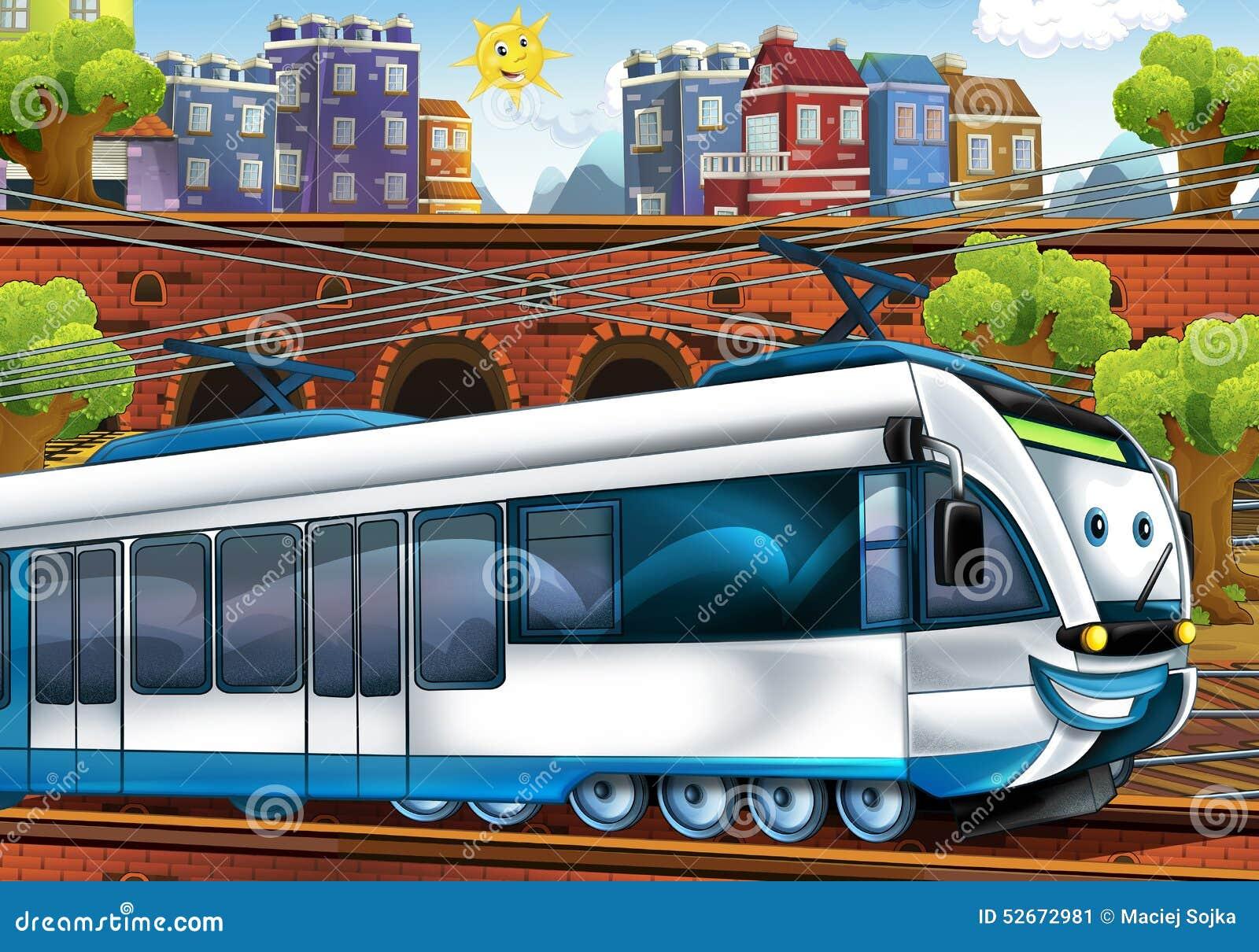 trem rápido dos desenhos animados estação de caminhos de ferro