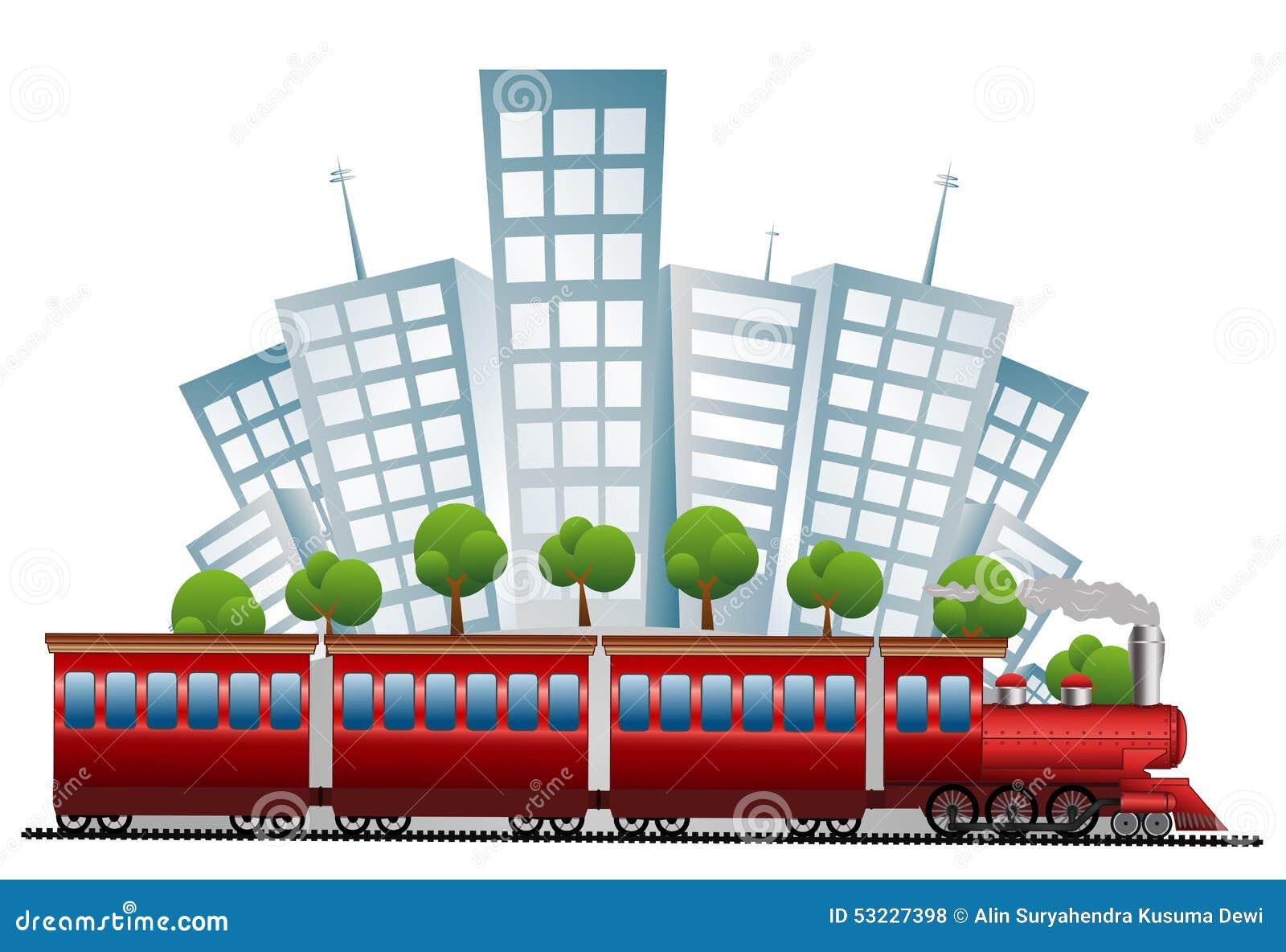 Tren con el backgroung de la ciudad - a todo color
