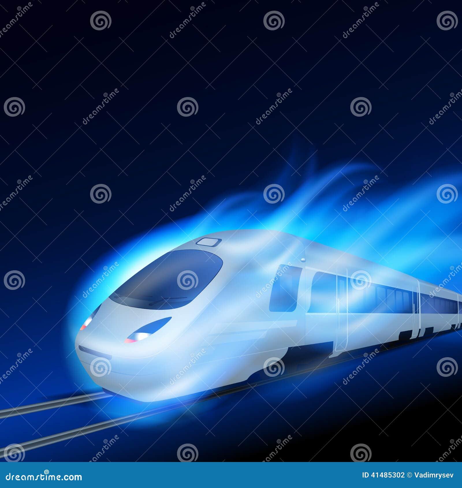 Tren de alta velocidad en llama azul del movimiento en la noche