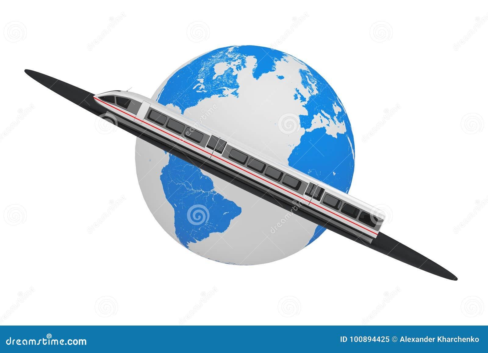Tren de cercanías futurista de alta velocidad estupendo sobre el