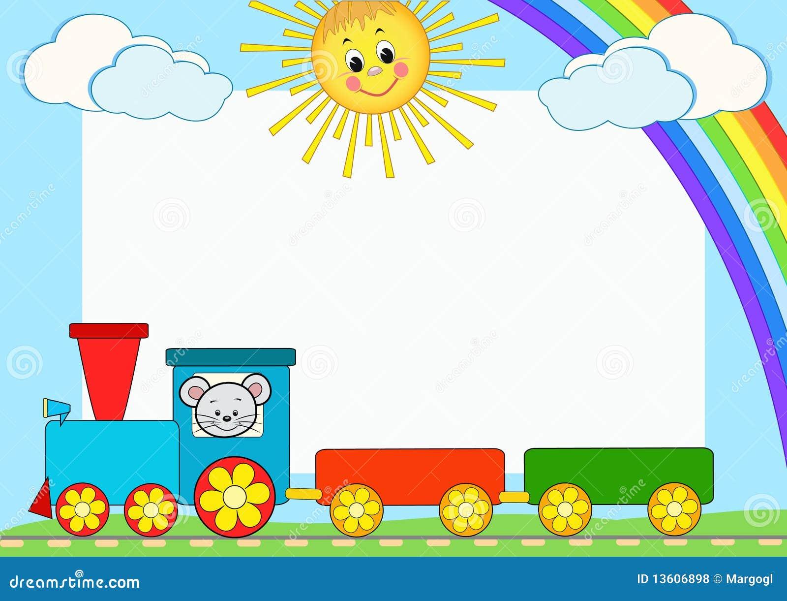 Tren Del Bebé. Marco De La Foto De Los Niños. Ilustración del Vector ...