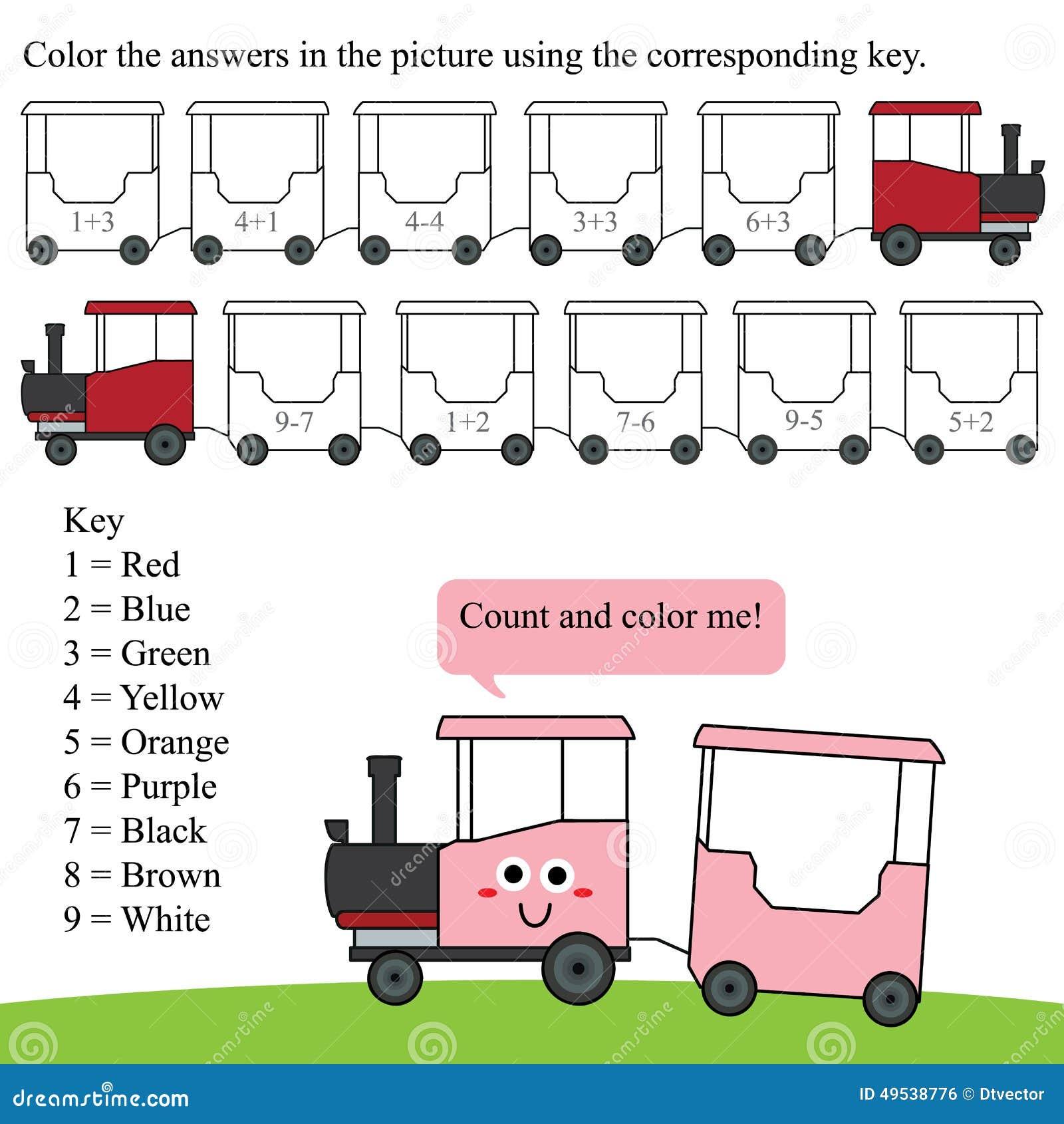 Tren Del Color De La Cuenta De La Matemáticas Ilustración del Vector ...