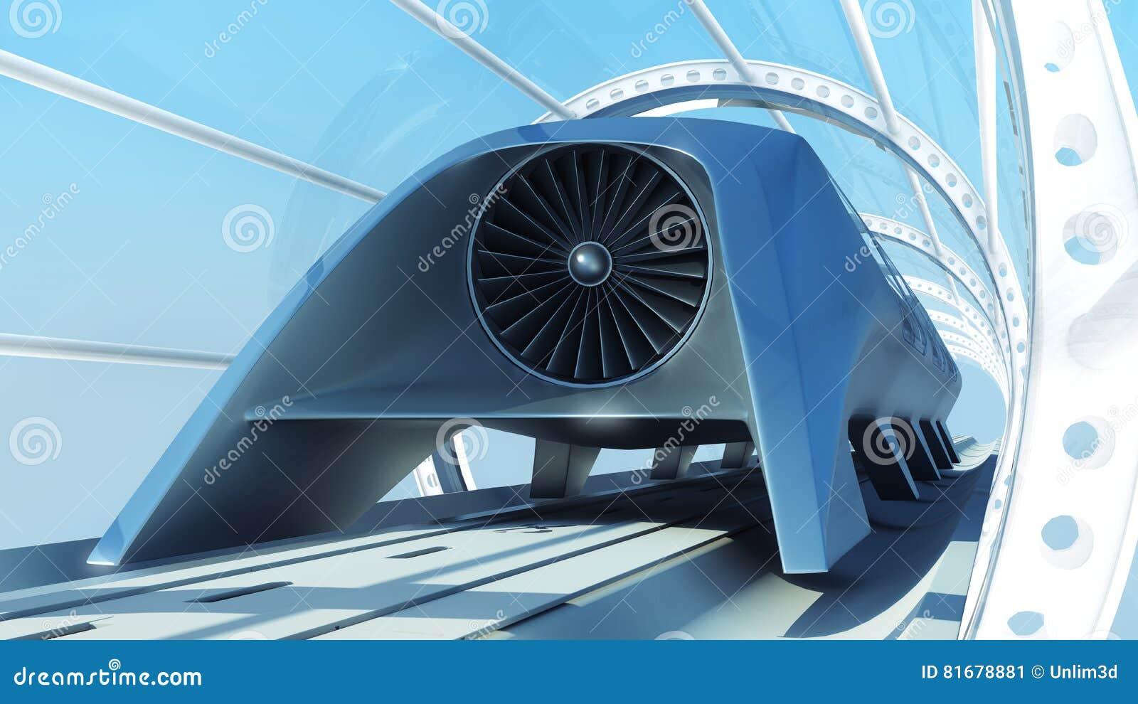 Tren futurista del monorrail en túnel representación 3d