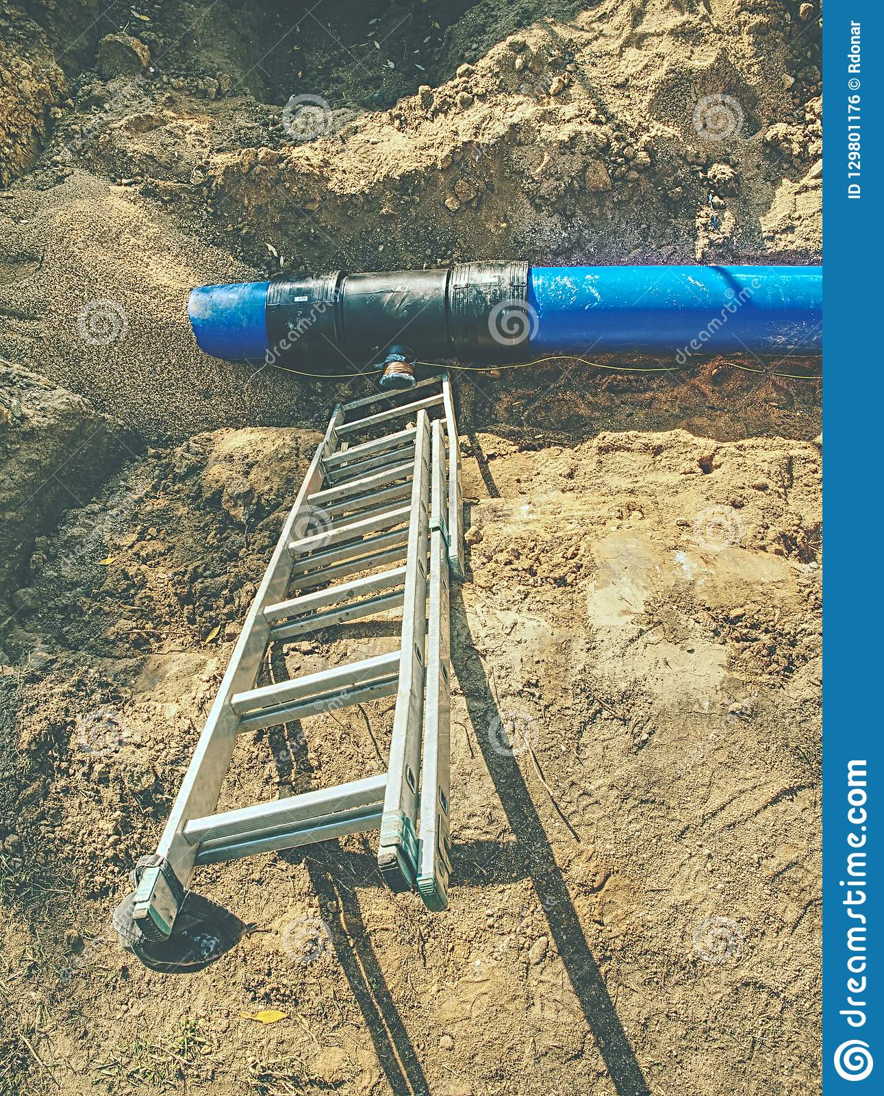 Trench For Laying Pipeline  Construction Of Drinking Water Pipes