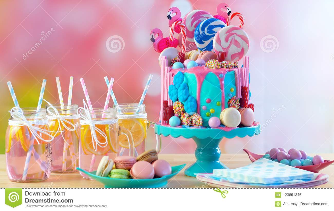 Magnificent On Trend Candyland Fantasy Drip Novelty Birthday Cake Stock Photo Birthday Cards Printable Opercafe Filternl