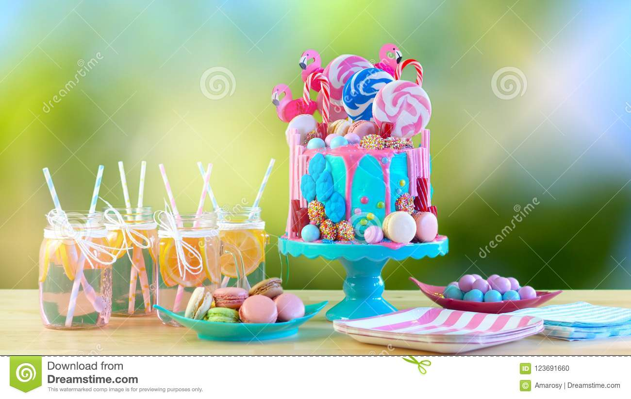 On Trend Candyland Fantasy Drip Novelty Birthday Cake Stock Photo