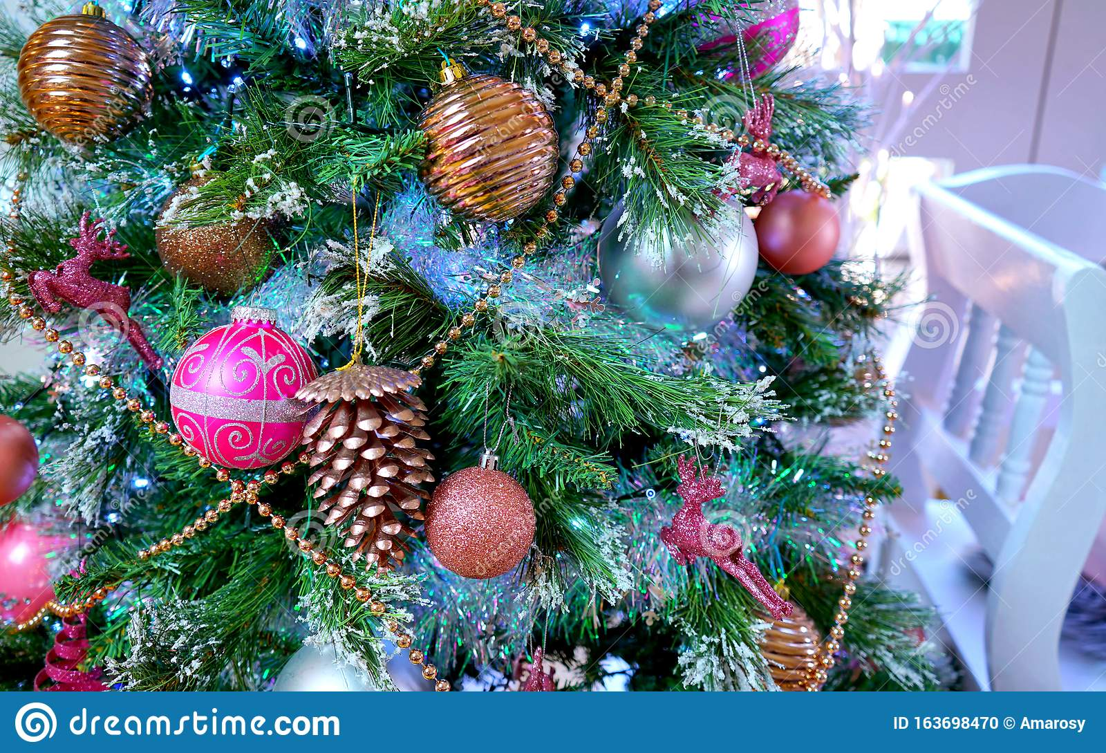 On Trend Pink And Rose Gold Trimmed Christmas Tree With Tray For Santa Stock Photo Image Of Family Card 163698470