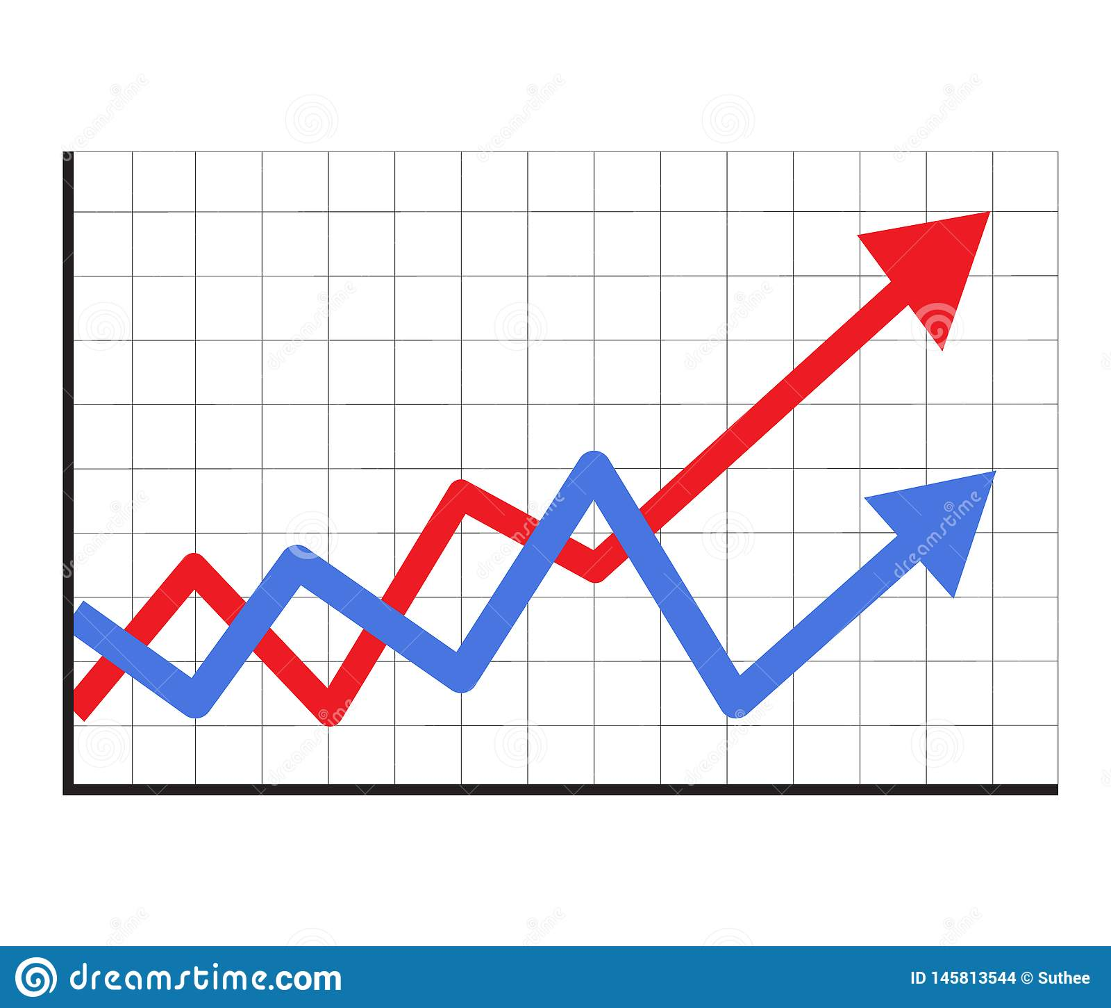 Trend Up Graph Icon In Trendy Isolated On White Background