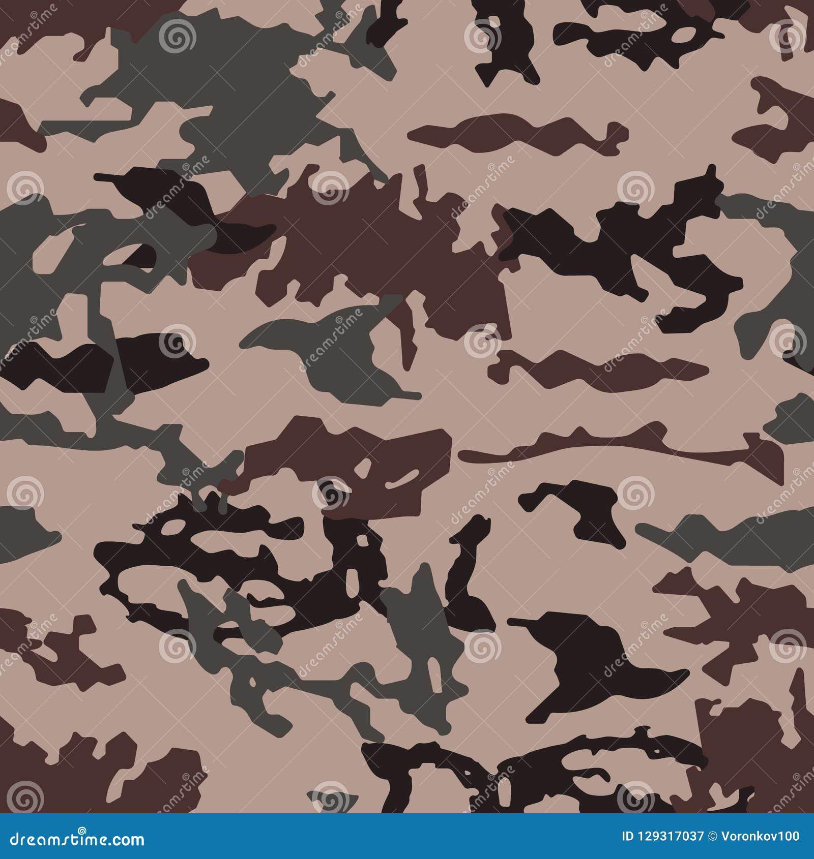 Trendig kamouflagemodell, sömlös vektor Millatry tryck texturen av kläderna, förklädnaden av en jägare