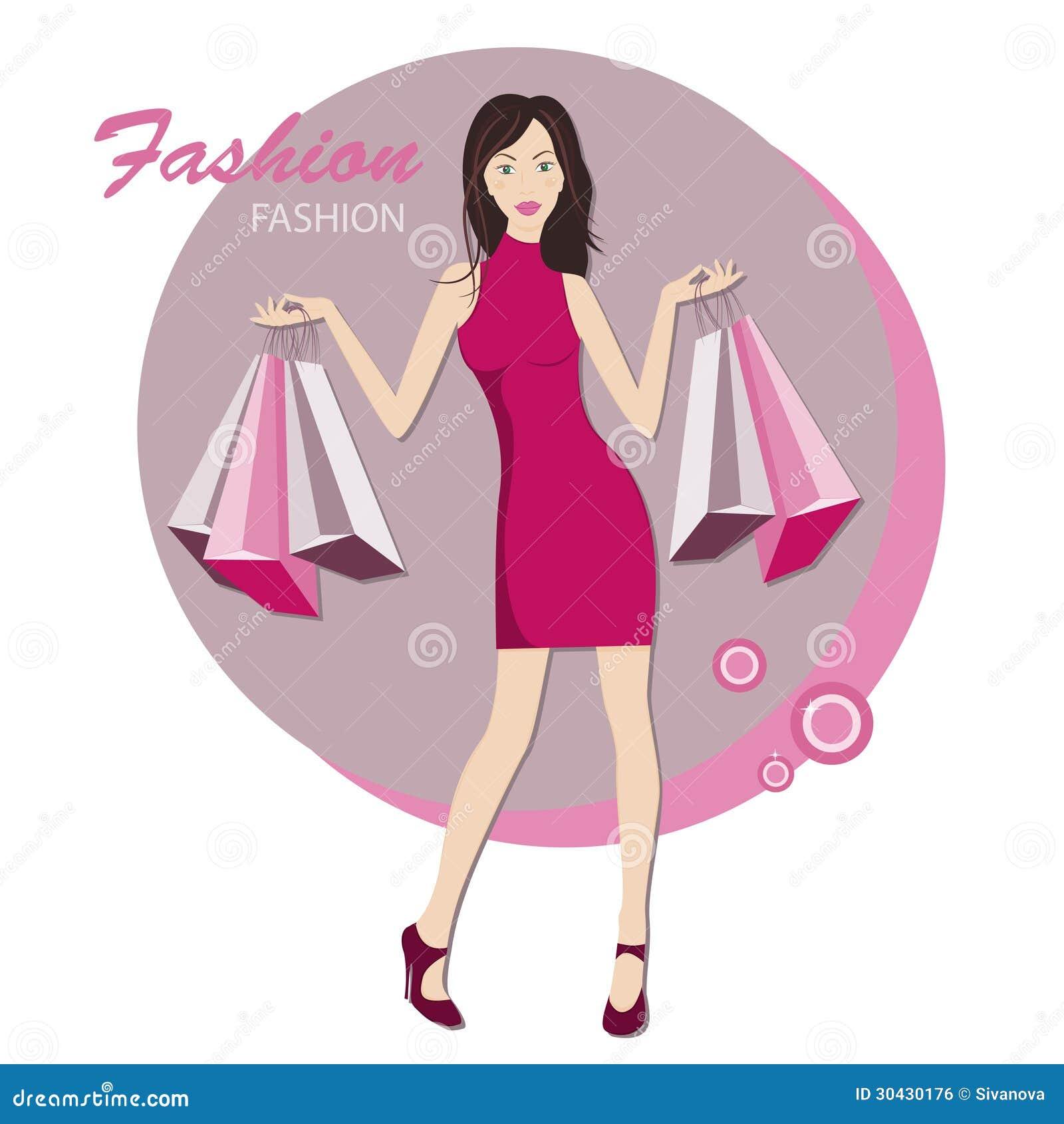 Trendig kvinna med påsar för köp