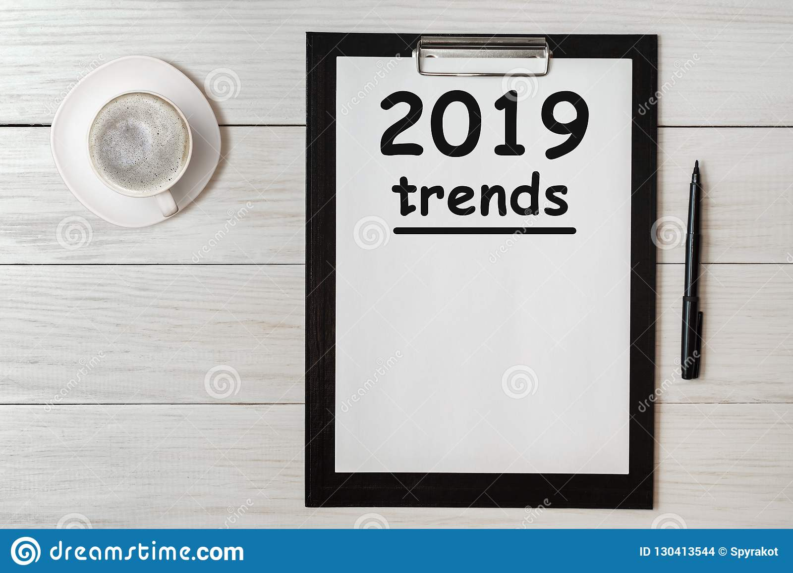 TRENDS 2019 Concept word on tablet. Trends 2019 of business concept for new year