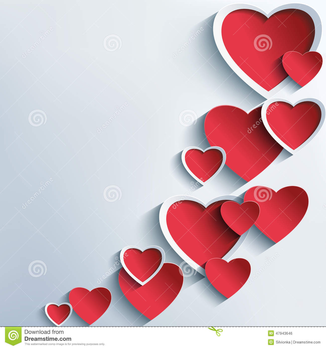 trendy abstract background with 3d hearts stock vector