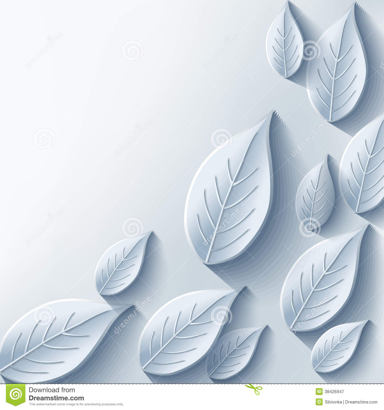 Trendy Abstract Background With Gray 3d Leaf Stock Vector