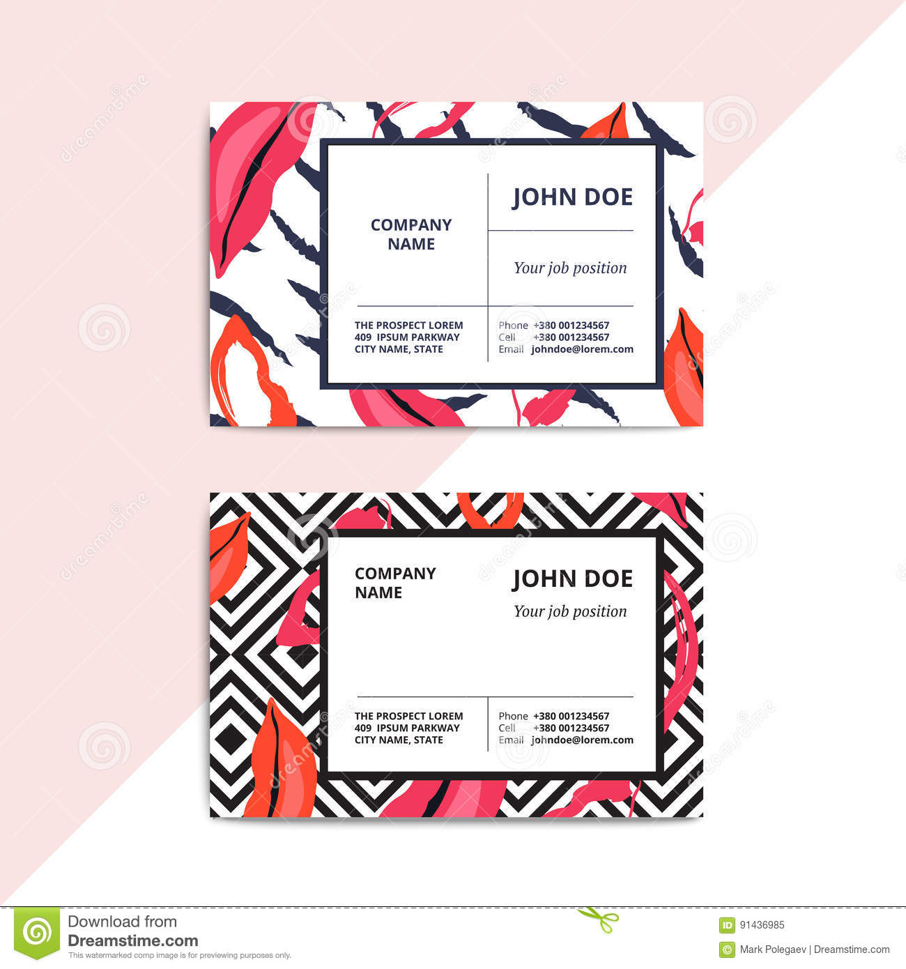 Trendy Abstract Business Card Templates Modern Luxury Beauty Sa