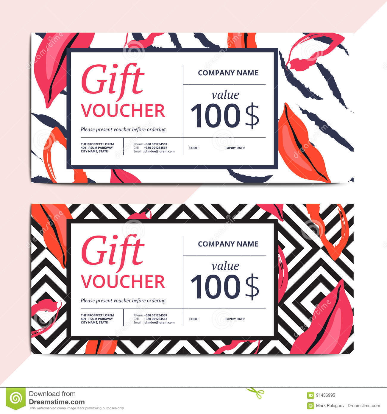 Trendy Abstract Gift Voucher Card Templates Stock Vector