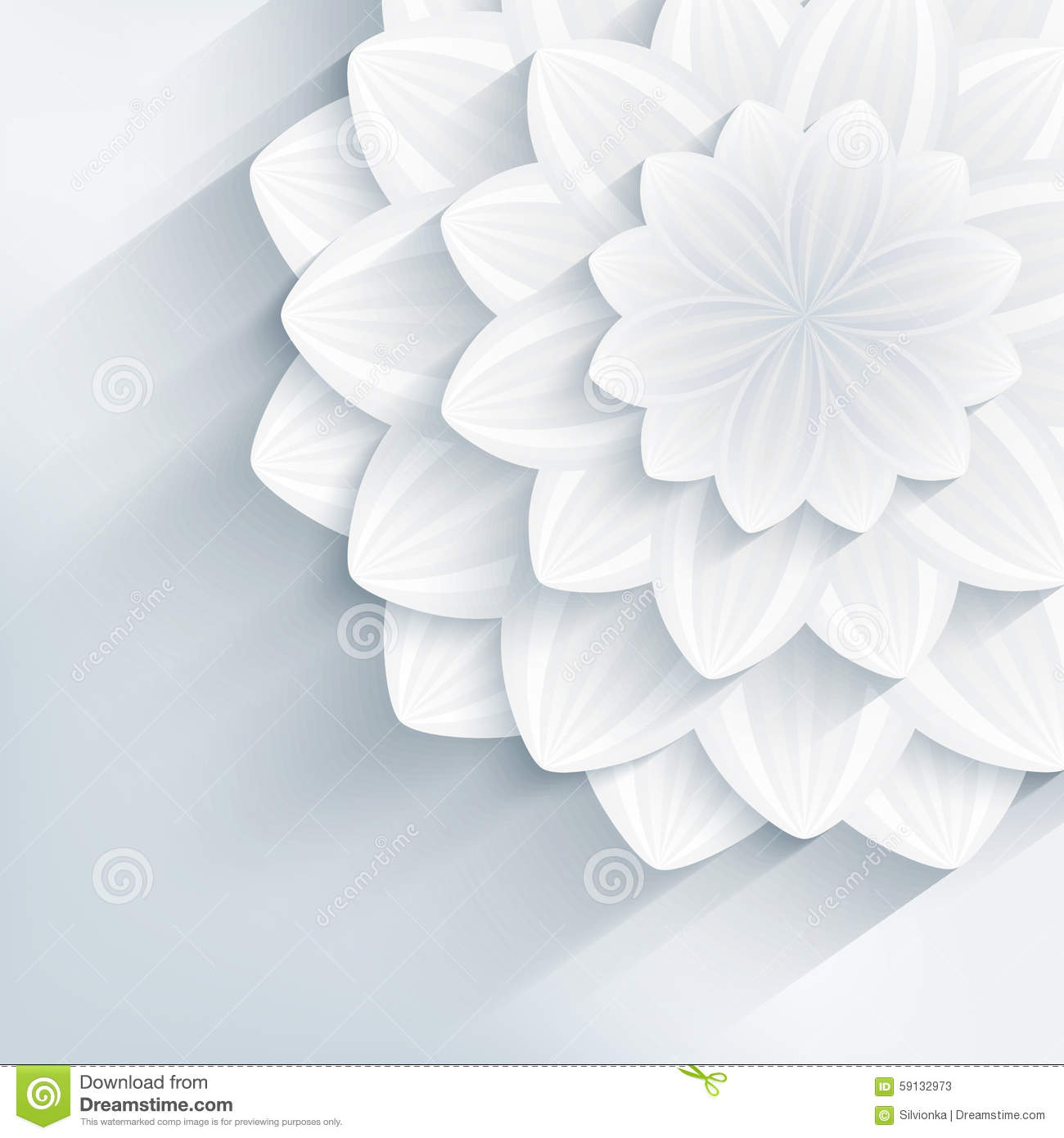 Trendy Background With Grey 3d Flowers