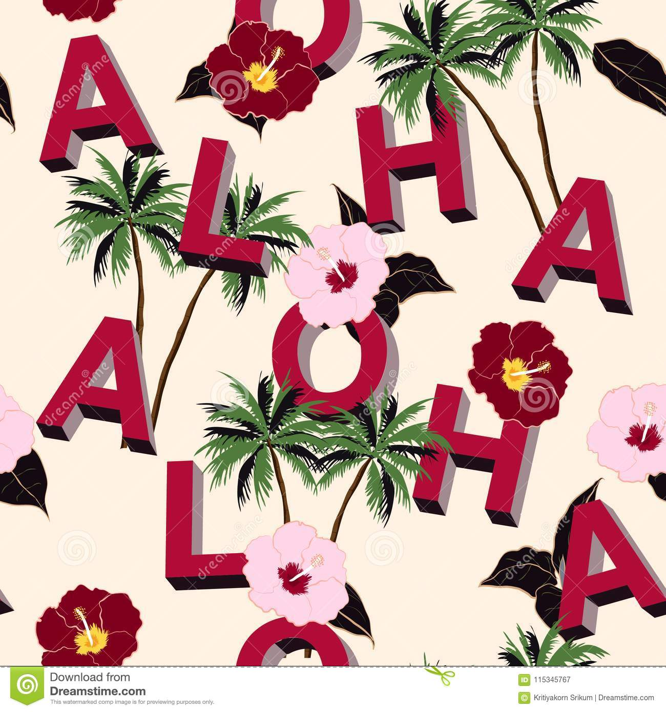 Trendy and Beautiful seamless 3D typo ALOHA mix with summer motive pattern on light pink background. Landscape with palm