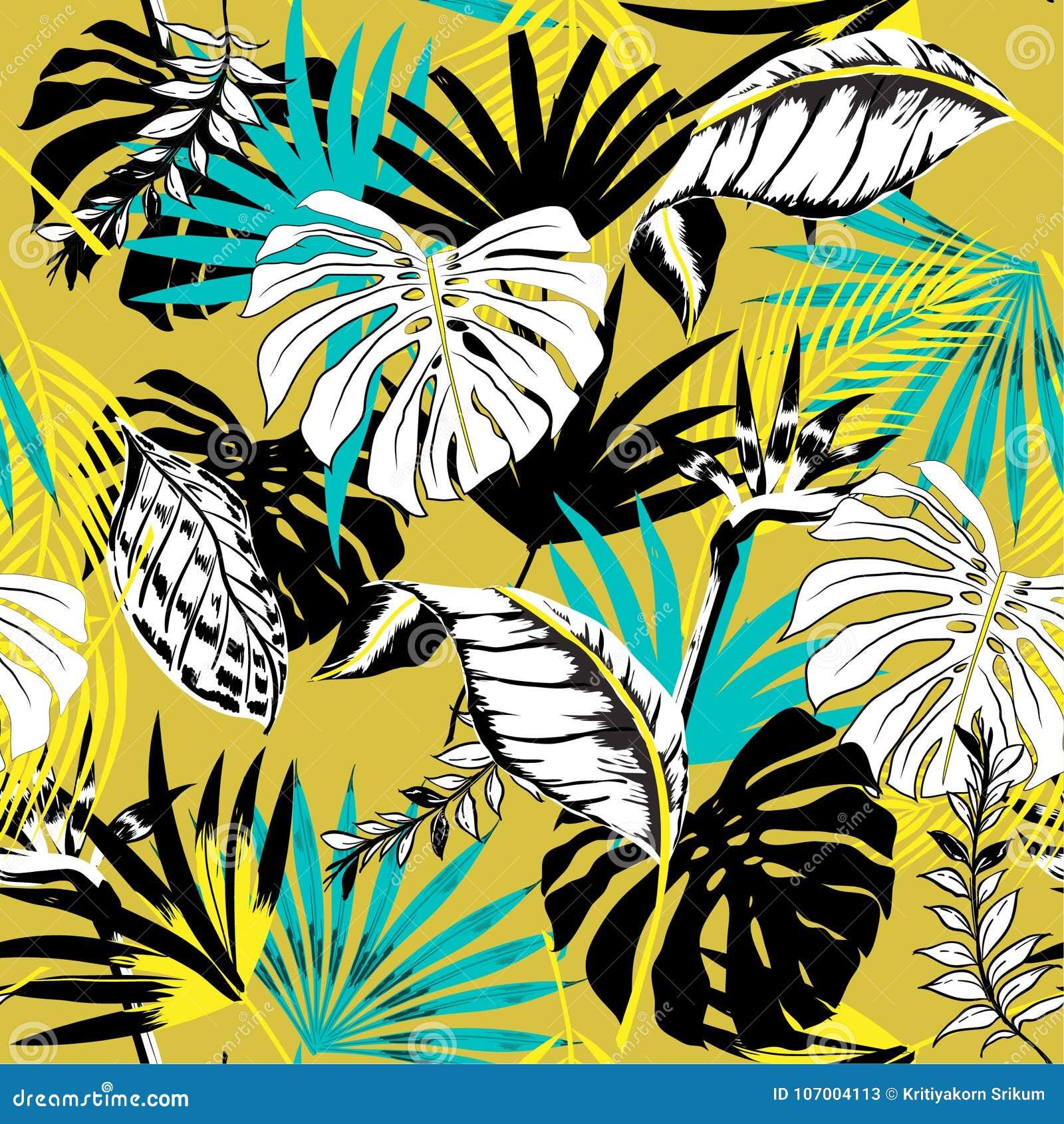 Trendy Beautiful seamless triopical summer pattern backgr