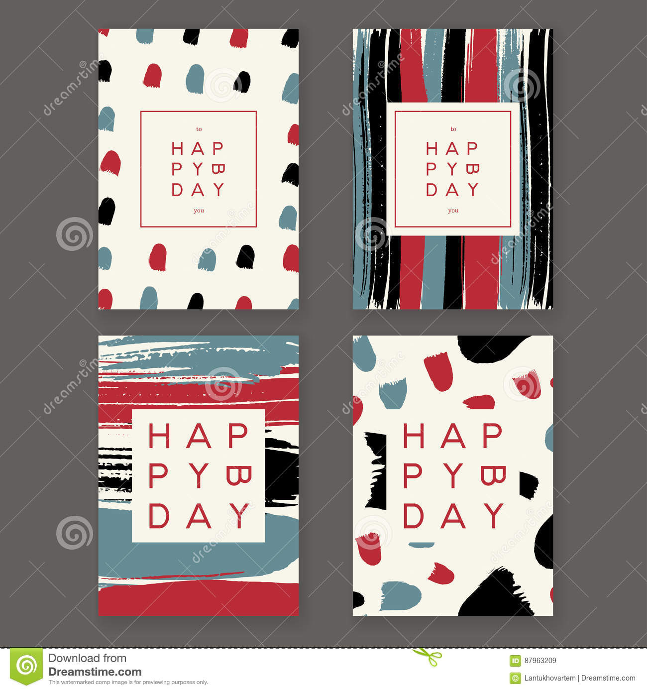 Trendy Birthday Cards Stock Vector Illustration Of Artistic 87963209